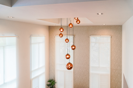 Lighting ball hanging from the ceiling.