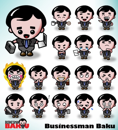 Businessman Baku in a variety of poses and facial expressions. Part of the Businessman Baku Series. Vector