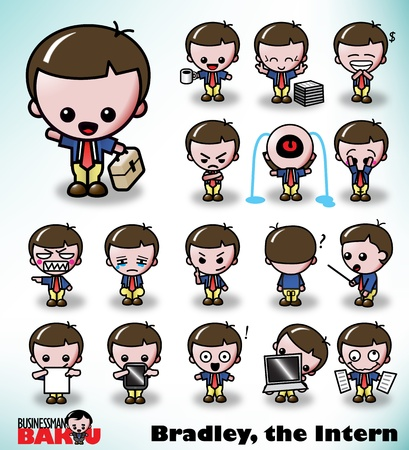 Bradley, the Intern, in a variety of poses and facial expressions. Part of the Businessman Baku Series. Vector