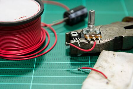 equipment for soldering resistor, transistor and capacity.