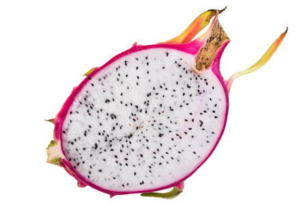 Sliced dragon fruit is ready to eat on the isolated white background with  . Dragon fruit is sweet fruit for appetizer or eat after meal and rich with vitamin and other nutrient.