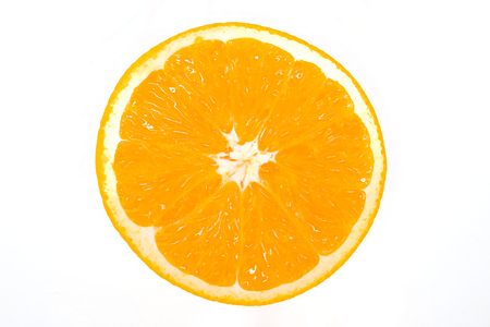 Sliced orange is ready to eat on the isolated white background with  . Orange is citrus fruit for appetizer or eat after meal and rich with vitamin and other nutrient for good health.