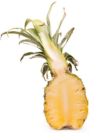 Sliced pineapple is ready to eat on the isolated white background with  . Pineapple is citrus fruit for appetizer or eat after meal and rich with vitamin and other nutrient for good health.