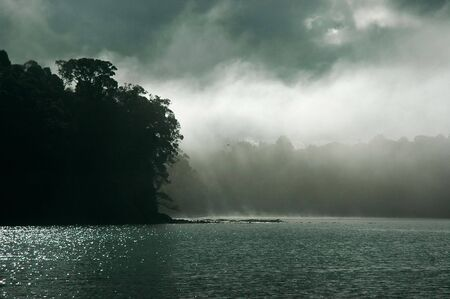 Dramatic clouds and fog over Titirangi and Laingholm, Auckland, New Zealand