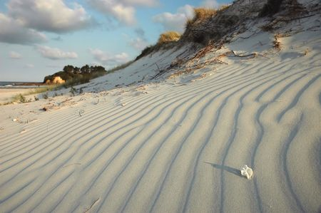 White sand beach in the evening.