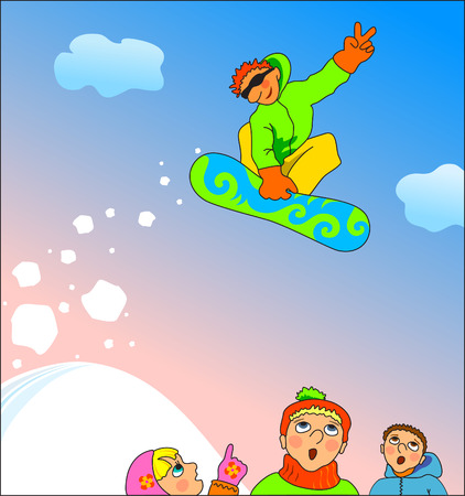 extremal: Vector illustration. Snowboard young fans watching snowboarder jumping. Children in winter series.