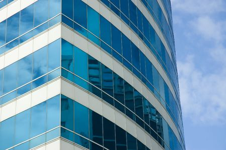Blue skyscraper corner. Close-up photo