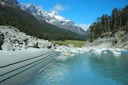 Pure nature, untouched world. Mountain river, forest, rocks. Dart rivet, Queenstown, New Zealand