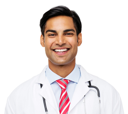 young male doctor: Portrait of happy young male doctor isolated over white background. Horizontal shot. Stock Photo