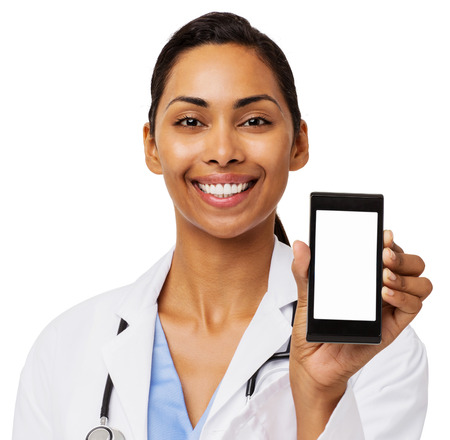 Portrait of happy female doctor promoting smart phone against white background. Horizontal shot.