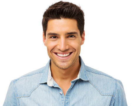 Portrait of happy young man isolated over white background. Horizontal shot.