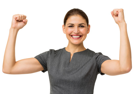 Portrait of happy businesswoman gesturing success over white background. Horizontal shot. photo