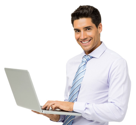 Portrait of smiling young businessman with laptop isolated over white background. Horizontal shot.