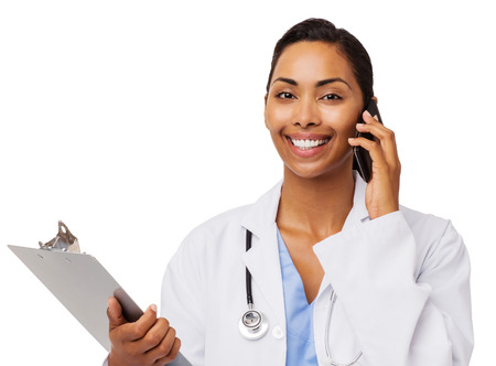 Portrait of confident doctor with clipboard answering smart phone against white background. Horizontal shot. photo