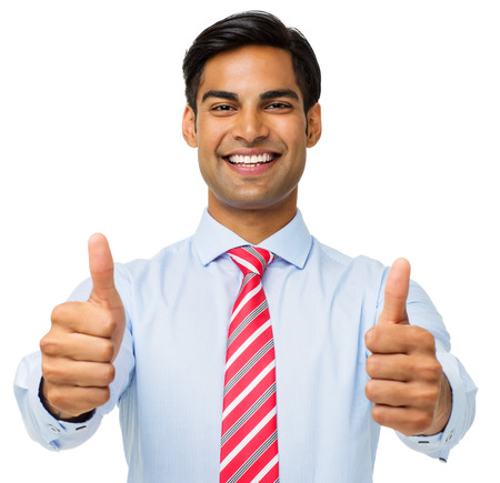waist up: Portrait of businessman showing thumbs up isolated over white background. Horizontal shot.