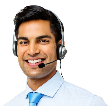 Portrait of confident male call center representative wearing headset over white background. Horizontal shot. photo