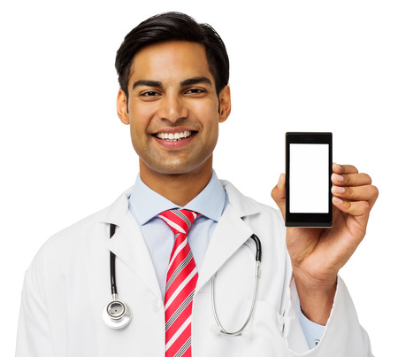 Portrait of confident male doctor showing smart phone over white background. Horizontal shot.