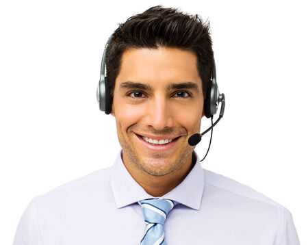Portrait of handsome male customer service representative wearing headset isolated over white background. Horizontal shot.