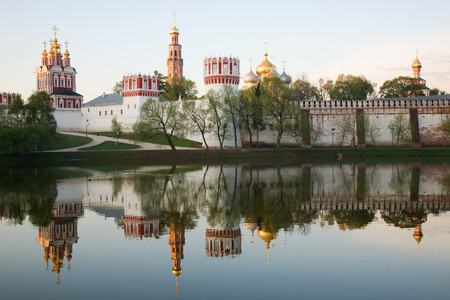 convent: Novodevichy convent in the early morning (view from the lake) Stock Photo