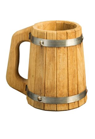 The big wooden beer mug collected from plates, isolated on white photo