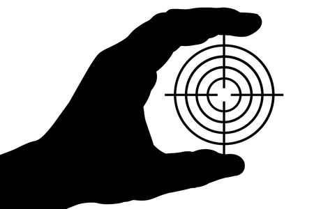 The silhouette of a mans hand holds a target. Isolated on white [with clipping path]. photo
