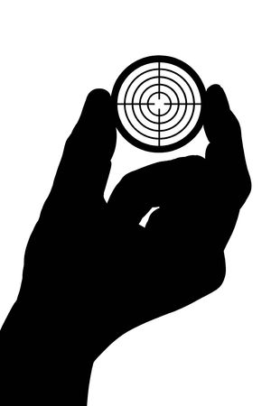 snajper: Silhouette rÄ™ka mężczyzny posiada elementu docelowego. Zdjęcie Seryjne