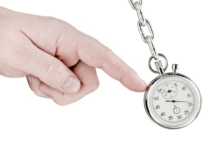 timescale: The hand shifts a pendulum consisting of a stop watch on a chain. Isolated on white