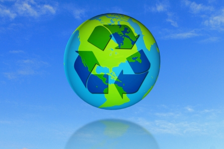 recycle symbol on earth with blue sky background photo