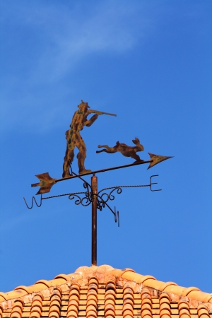 rabbit and shooter decorative on weather vane Stock Photo - 17106917
