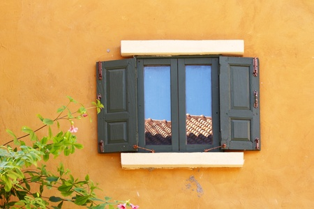 wooden windows in Italian style photo