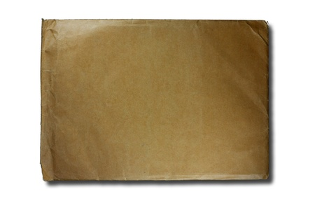 old brown envelope isolated on white background photo