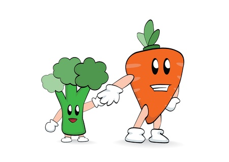 Carrot holding little broccoli s hand Vector