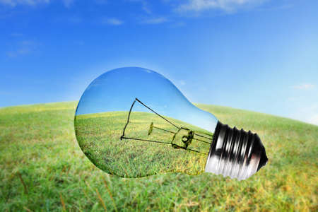 Green grass and blue sky view in light bulb photo