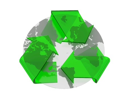 recycle symbol cover earth isolated photo