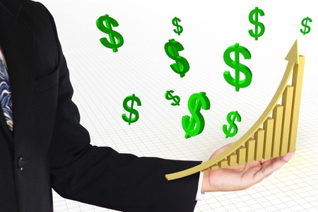 business man showing golden rise arrow with graph and green dollar sign photo