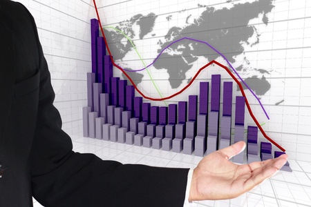 financial and business graph on world map background photo