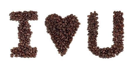 i love u: J'aime le mot u � partir de grains de caf�