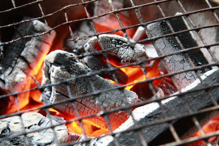 burning charcoal ready for grill Stock Photo - 19193633