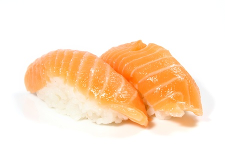 salmon sushi on white background Stock Photo