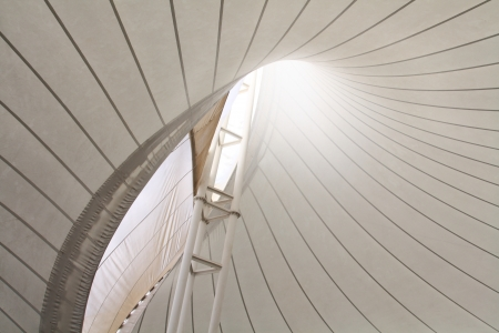 fabric tensile roof structure with skylight