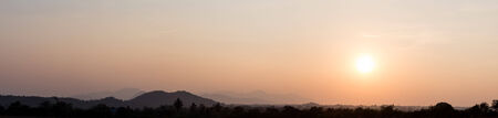 Beautiful sunset over the hill and valley panorama photo
