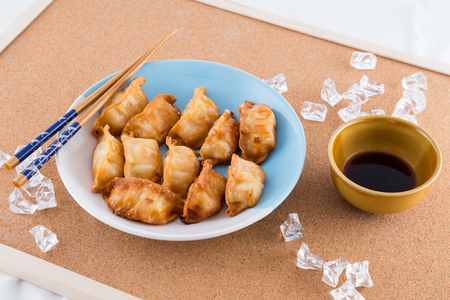 gyoza: gyoza with dipping sauce Stock Photo