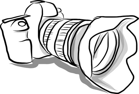 Digital camera hand drawn Illustration