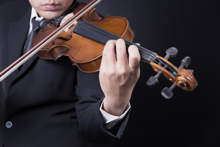 violin player: musician playing violin Stock Photo