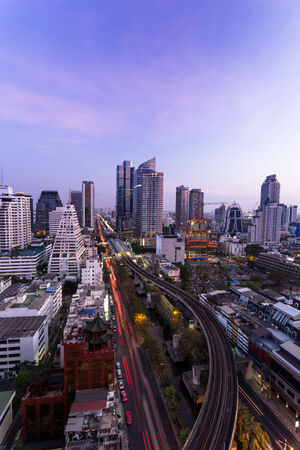 silom: Bangkok,Thailand - 8 February 2014  Aerial view of modern buildings in Silom district on February 08, 2014 in Bangkok, Thailand  Silom is the famous business area in Thailand