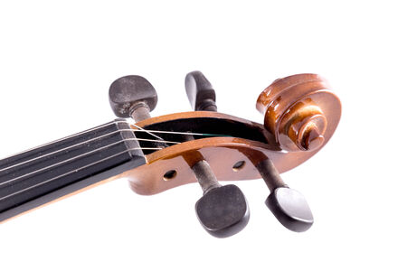 Close-up violin head on white background photo