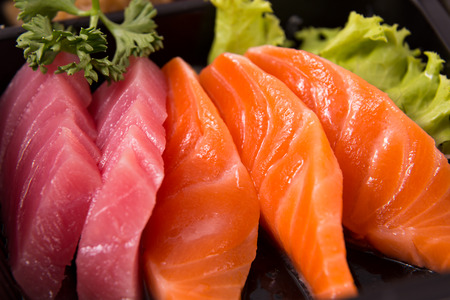 salmon and maguro sashimi Stock Photo