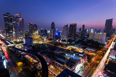 silom: Bangkok,Thailand - 8 February 2014  Aerial view of modern buildings in Silom district at night on February 08, 2014 in Bangkok, Thailand  Silom is the famous business area in Thailand