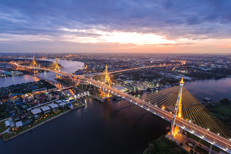 Sunset Scene at Bhumibol Bridge in Bangkok Stock Photo