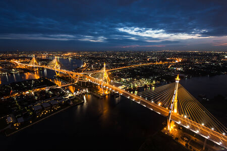 bhumibol: Sunset Scene at Bhumibol Bridge in Bangkok Stock Photo